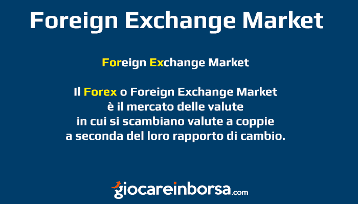 Cosa è il Foreign Exchange Market o Forex