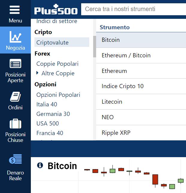 Alcune delle criptovalute offerte da Plus500