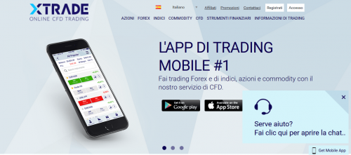 La piattaforma di XTrade è disponibile anche come app mobile