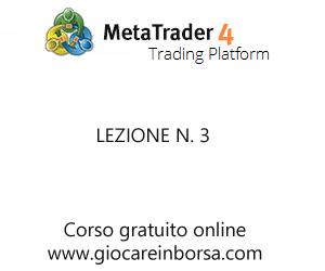Lezione n.3 del corso online gratuito di MetaTrader4 offerto da Giocareinborsa.com