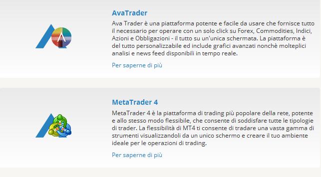 Tra le piattaforme trading di AvaTrade spiccano AvaTrader e MetaTrader4