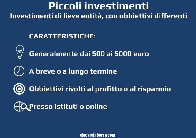 Piccoli investimenti sicuri