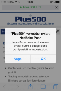 Notifiche su Plus500