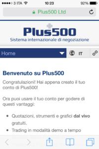 benvenuto su Plus500
