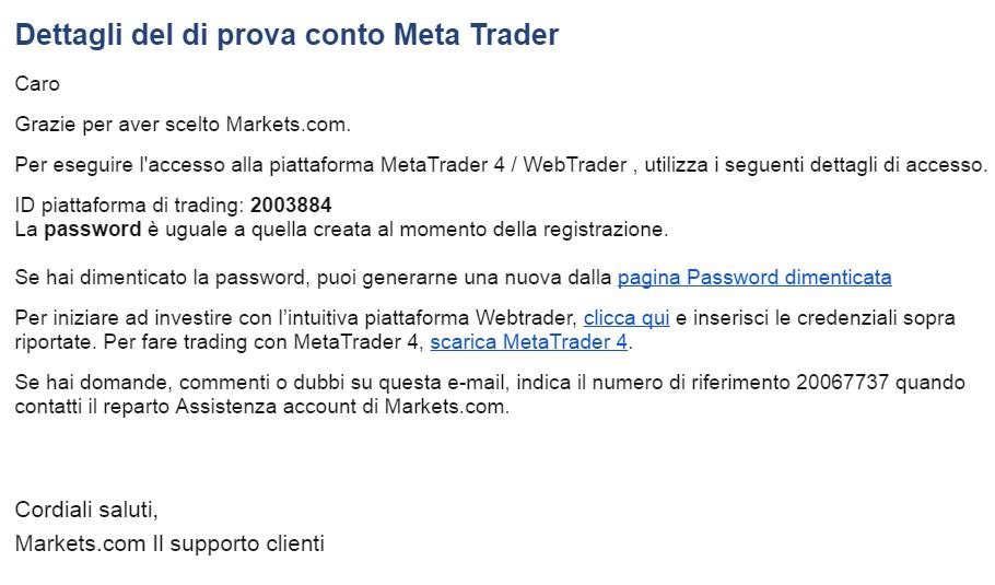 Email attivazione prova conto MetaTrader