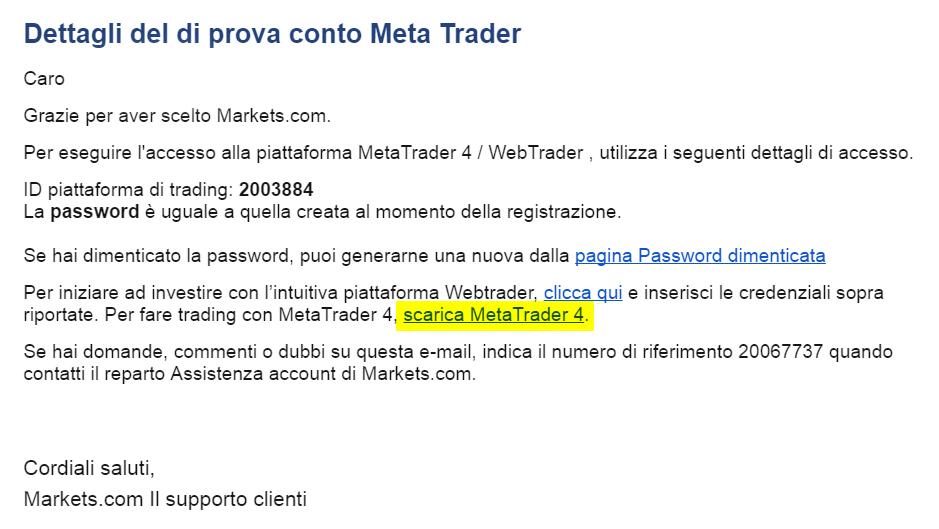 Come scaricare MT4 dalla email di attivazione prova conto MetaTrader