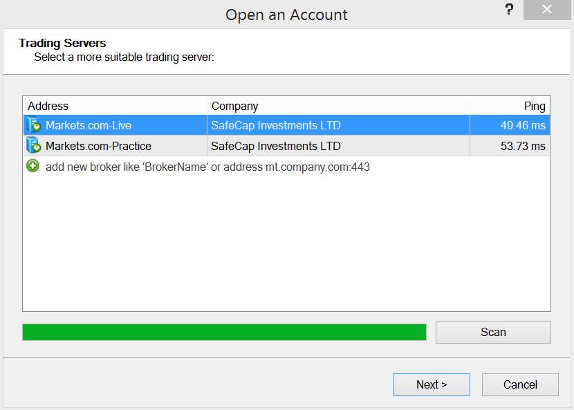 Decimo passo per attivare un conto demo MetaTrader 4 su Markets