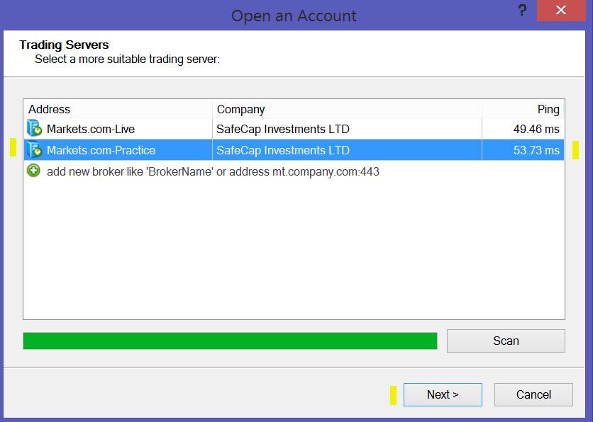 Undicesimo passo per attivare un conto demo MetaTrader 4 su Markets