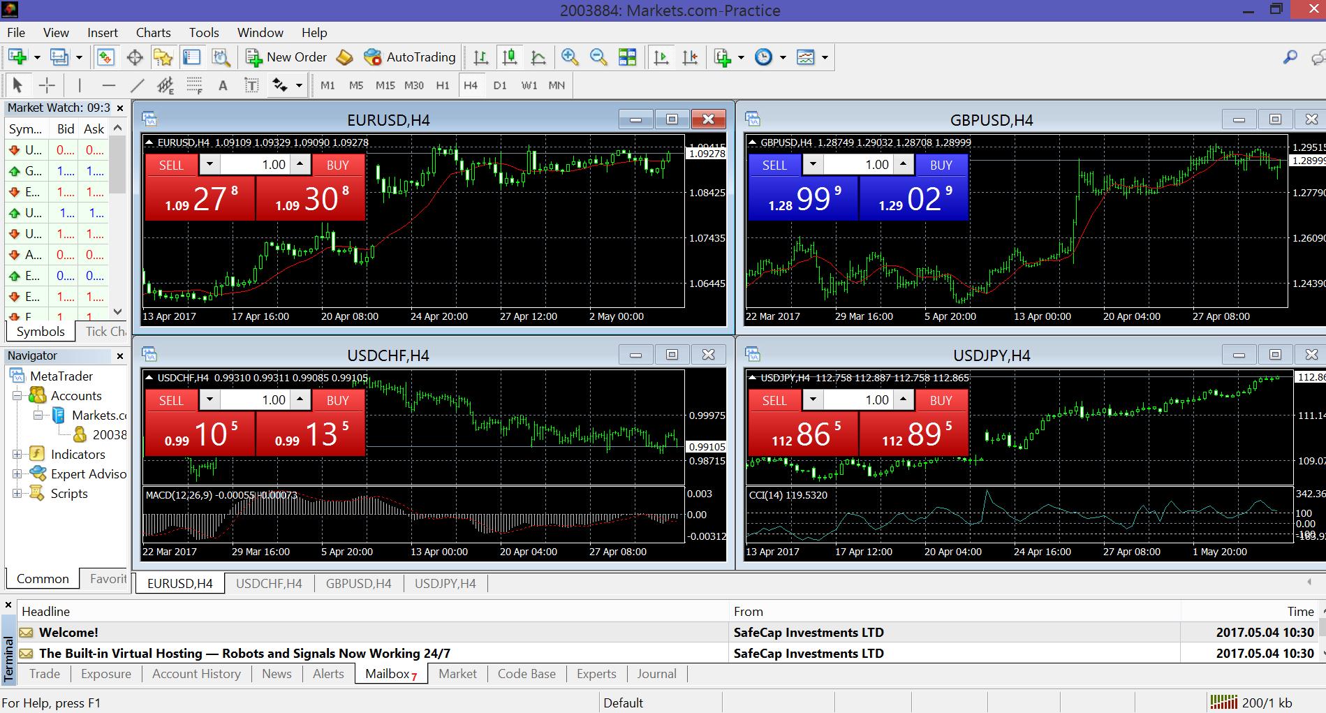 Tredicesimo passo per attivare un conto demo MetaTrader 4 su Markets