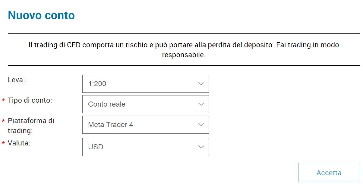 Terzo passo per attivare un conto demo MetaTrader 4 su Markets