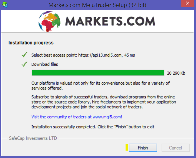Nono passo per attivare un conto demo MetaTrader 4 su Markets