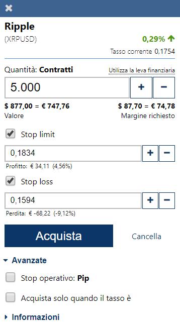 impostazioni ripple plus500