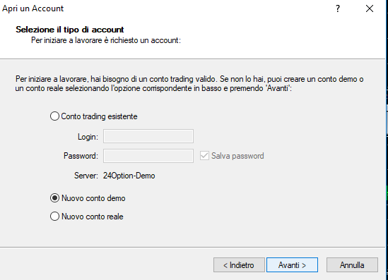 Come fare il login su MT4 con 24option