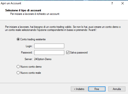 Dati login 24option per MT4