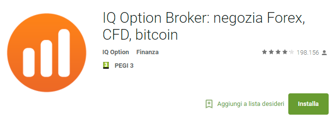La ricerca di IQ Option su Google Play