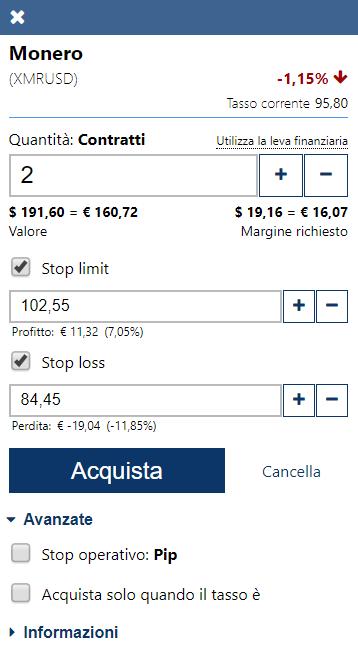 Dettagli operazione trading su Monero