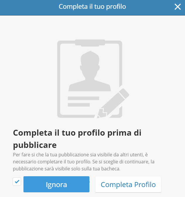 Richiesta di completamento del profilo eToro