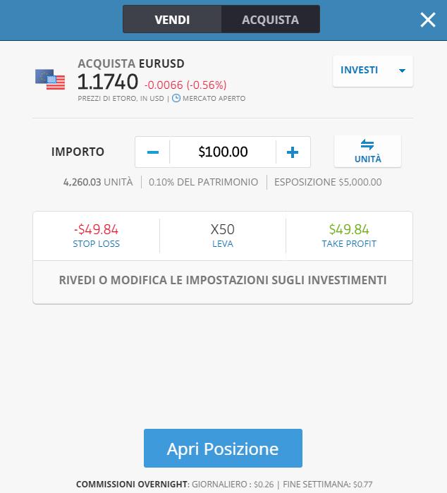 La finestra di apertura dell'ordine di trading su eToro