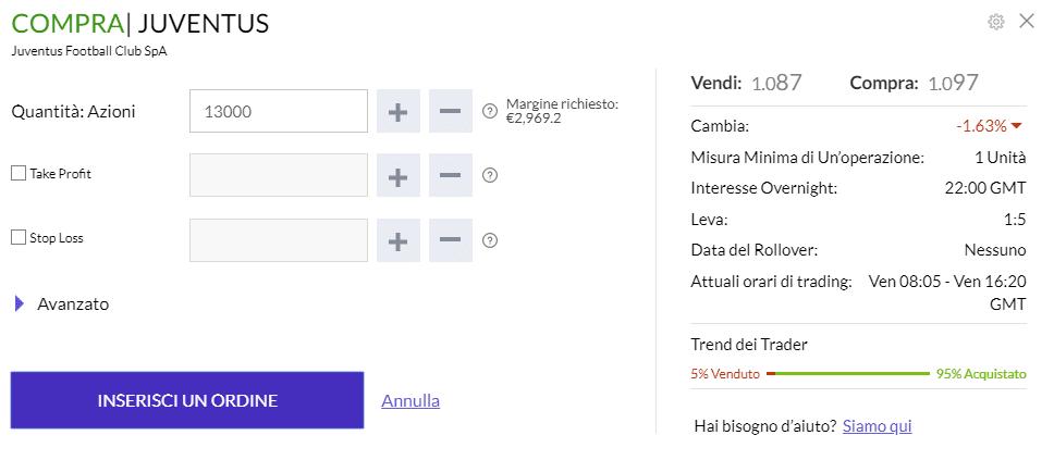 La finestra dell'ordine di acquisto di Trade.com