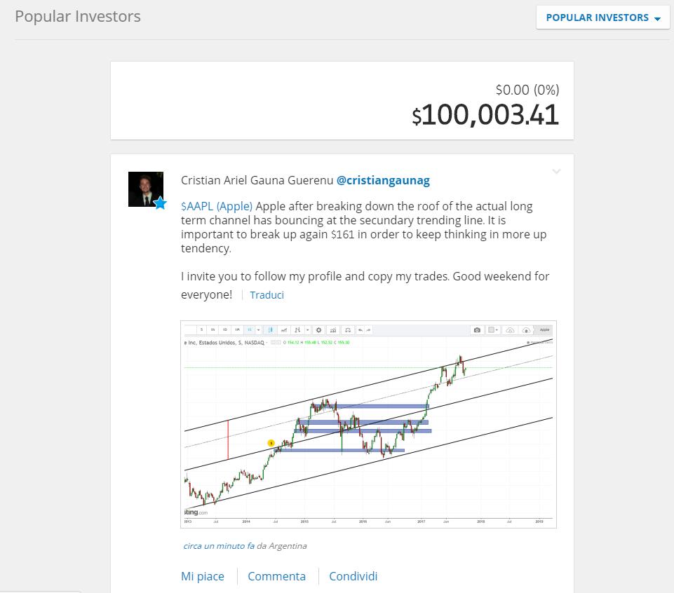 La finestra relativa ai Popular Investors su eToro