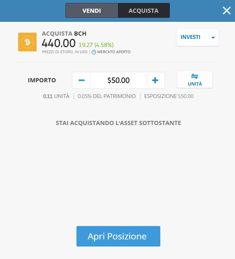 Come comprare bitcoin cash con Postepay su eToro