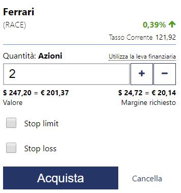 Come aprire una posizione di acquisto azioni Ferrari su Plus500