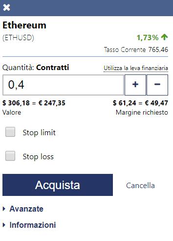Come completare l'ordine di acquisto o vendita di Ethereum su Plus500
