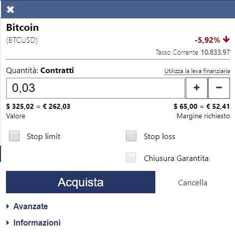 Come definire in dettaglio un ordine trading su bitcoin su Plus500