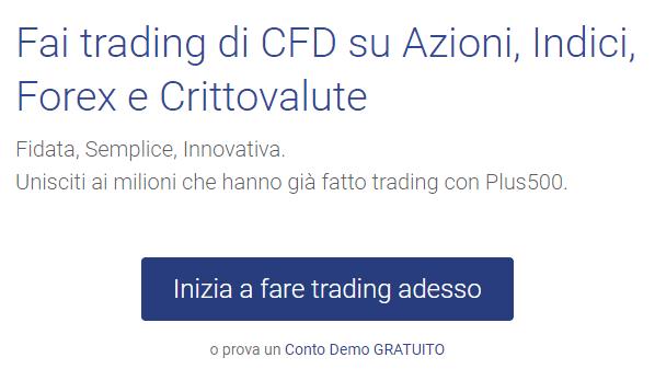 Il link al conto demo gratuito per fare trading su Plus500 senza depositare