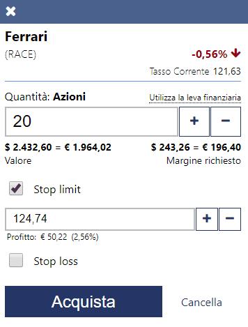Esempio di applicazione stop limit sulla piattaforma trading CFD Plus500
