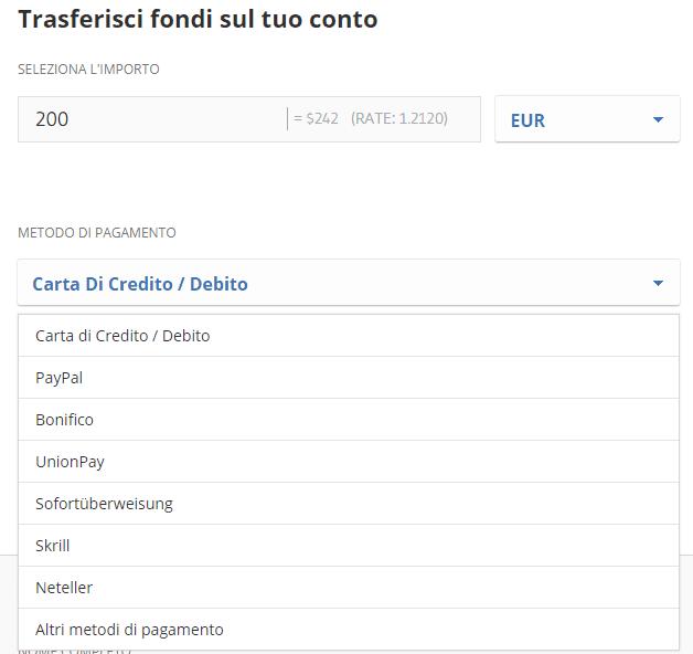 Lista dei metodi di deposito su eToro