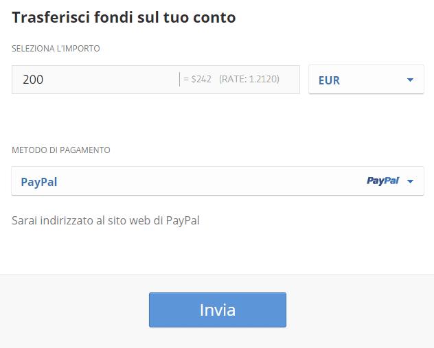 Come depositare su eToro con Paypal