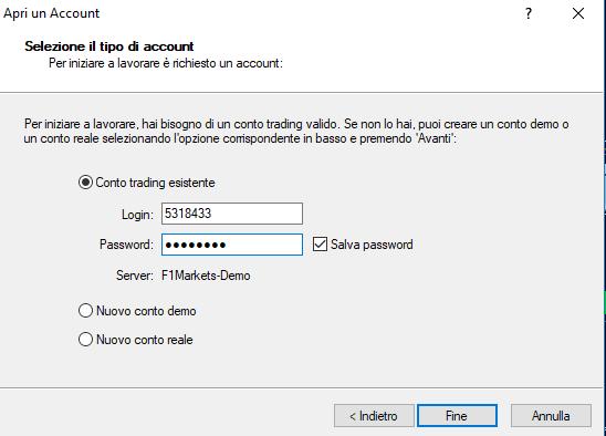 Come si accede con il conto demo esistente a MetaTrader 4