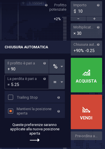La barra per impostare l'ordine su IQ Option