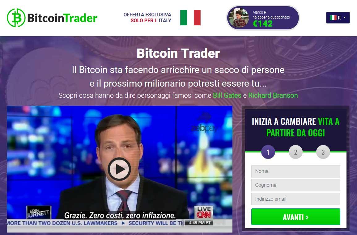 Come si presenta il sito di Bitcoin Trader per l'iscrizione