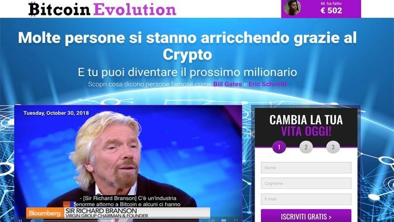 Richard Branson falso testimonial Bitcoin Evolution