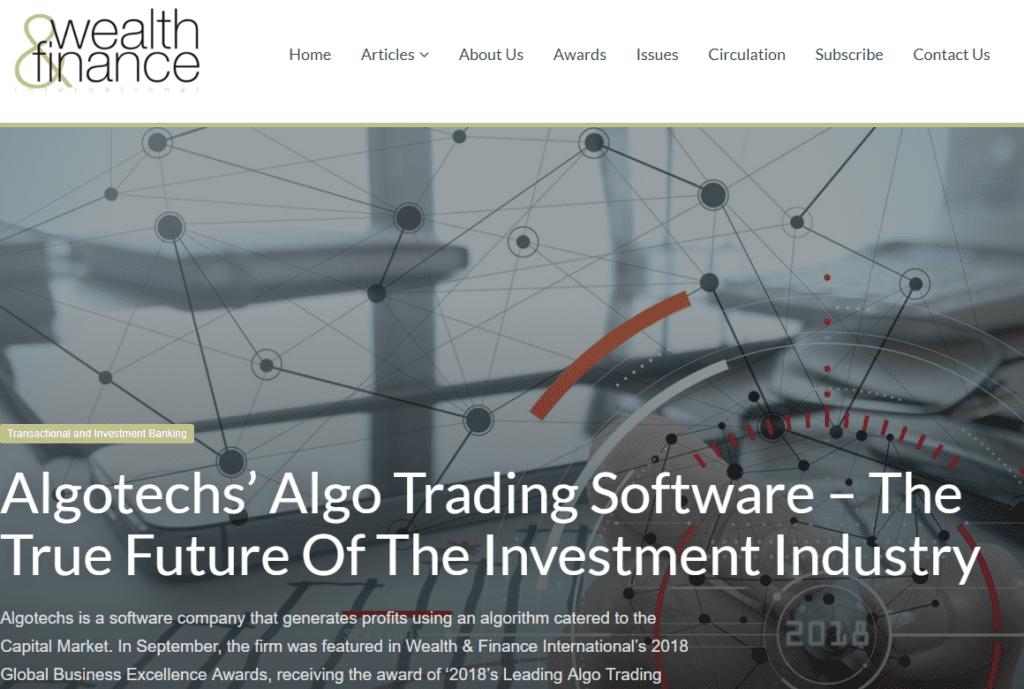 Articolo di Wealth & Finance su Algotechs