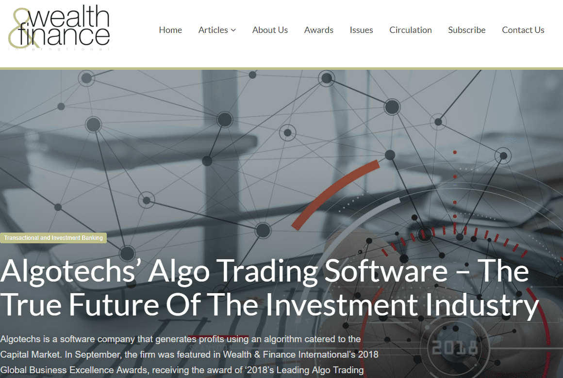 Articolo di Wealth & Finance su Algotechs