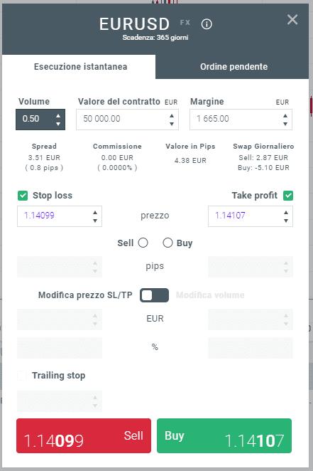 Finestra per l'impostazione dei parametri dell'ordine nella piattaforma di trading xtb