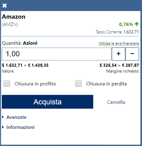 La finestra dell'ordine di trading di Plus500
