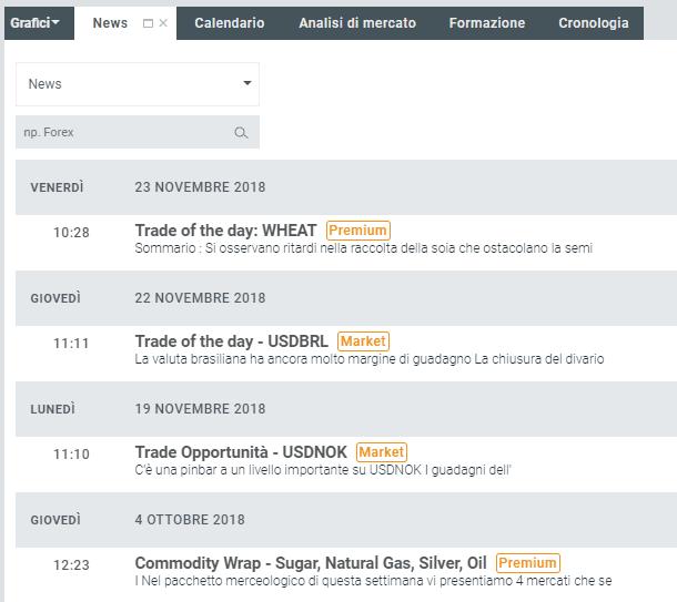 La finestra dedicata alle news sulla piattaforma XTB