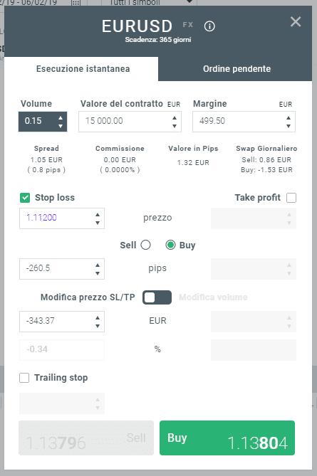 esempio di ordine al ribasso sulla piattaforma di trading xtb