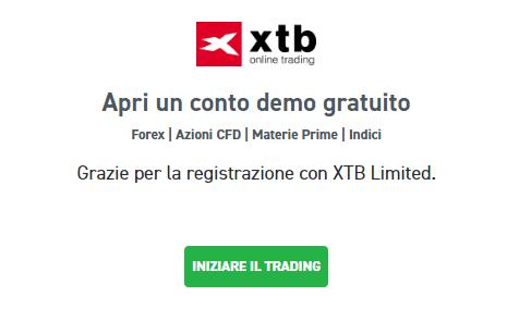 Messaggio di conferma alla registrazione XTB