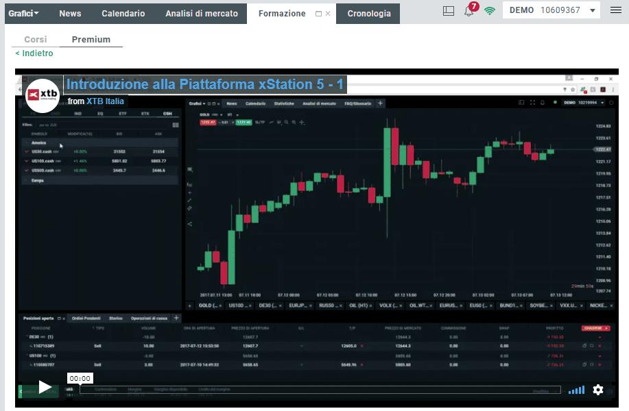 Video corso di trading di XTB disponibile nella sezione formazione