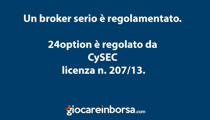 24option on è una truffa in quanto un broker regolamentato