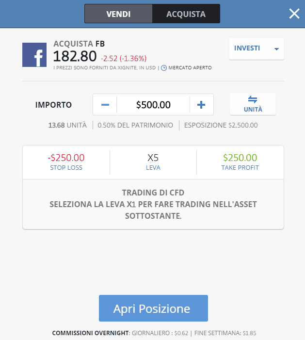Come impostare un ordine su eToro demo