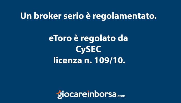 eToro non è una truffa in quanto un broker regolamentato