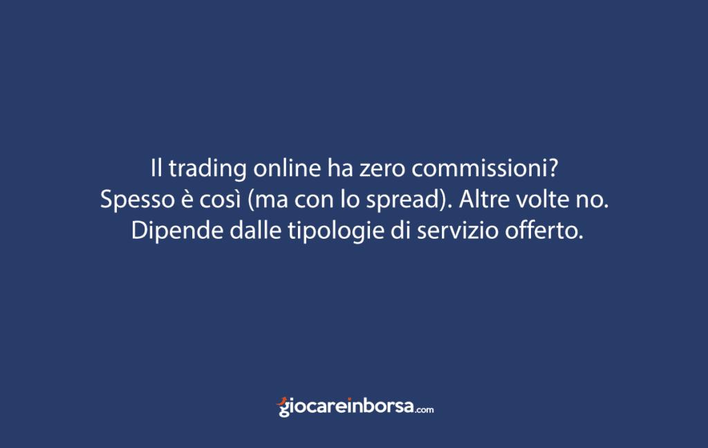 Informazioni sulle commissioni del trading online.