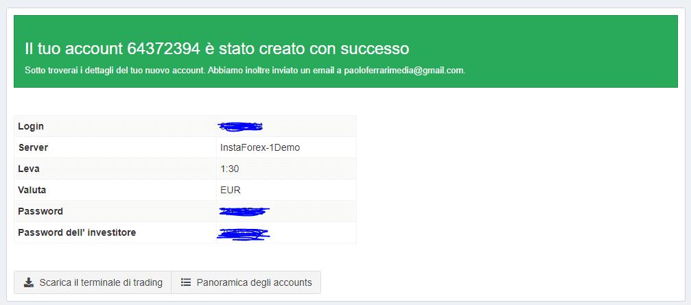 I dati per accedere al conto demo Instaforex