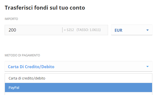 Come depositare con Paypal per comprare bitcoin su eToro